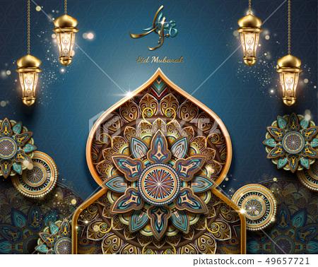 Eid Mubarak arabesque pattern 49657721