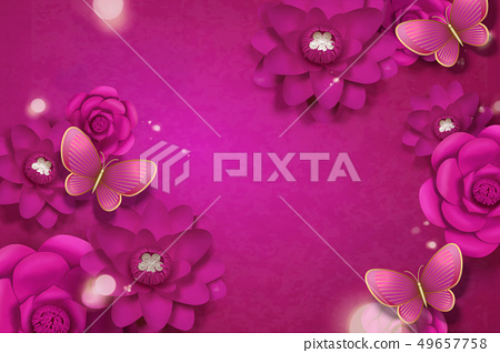 Fuchsia paper flowers background 49657758