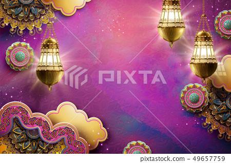 Islamic art fuchsia background 49657759