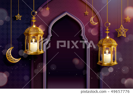 Islamic purple background 49657776