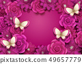 Fuchsia paper flowers background 49657779