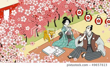Cherry blossom viewing in ukiyo-e 49657813