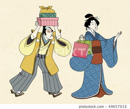 Shopping woman in ukiyo-e style 49657818