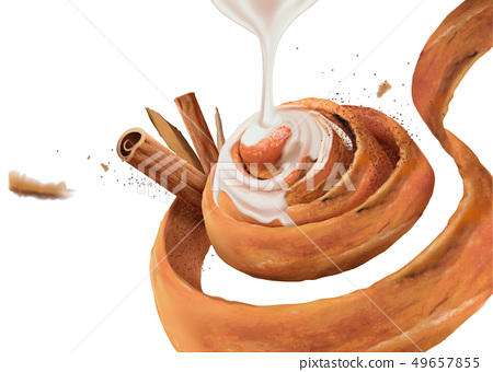 Cinnamon roll with condensed milk 49657855