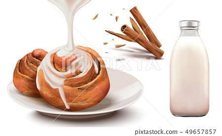 Cinnamon rolls with condensed milk 49657857
