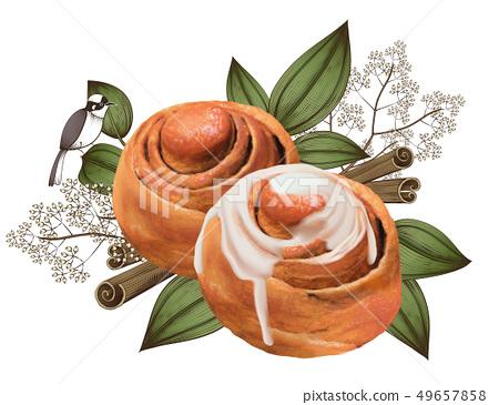 Cinnamon rolls with condensed milk 49657858