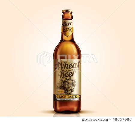 Wheat beer glass bottle 49657996