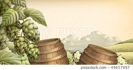 Retro barrel and hops background 49657997