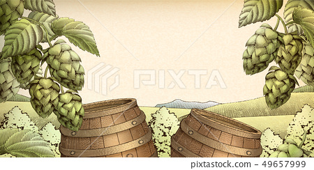 Retro barrel and hops background 49657999