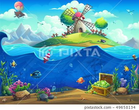 Undersea world with baloon on the island 49658134