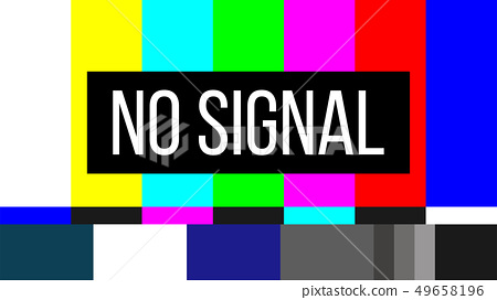 Creative illustration of no signal TV test pattern background. Television screen error. SMPTE color 49658196