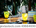 Wine glass with dining set prepare for breakfast lunch or dinner on table in restaurant 49664690