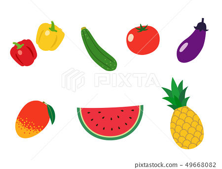 Summer vegetables and fruits icon set 49668082