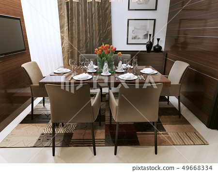 Dining room in a modern style 49668334