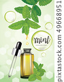 Mint oil dropping from leaf into glass bottle. 49668951