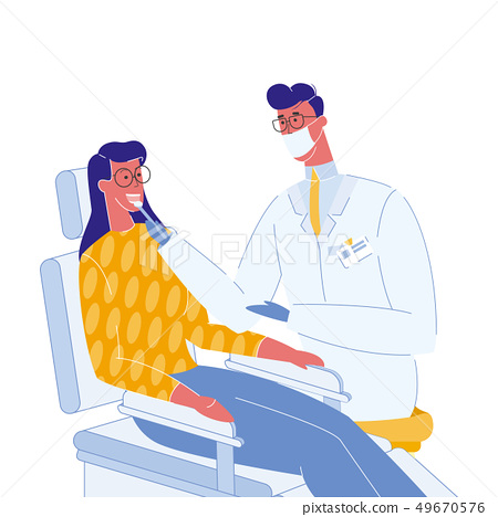 Dentist and Patient Color Vector Illustration 49670576