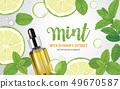 Mint leaf, lime fruit and vitamin C bottle. 49670587