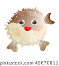 Fish hedgehog isolated on background. Vector illustration art. Animal of the underwater world. Hand 49670811