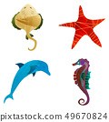 Marine set of Watercolor Vector Tropical Fish, Seaweed Coral Algae and Jellyfish Underwater 49670824