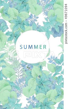 優雅的夏天水彩葉子 49671094