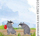 Two Raccoons Vector. Cute animals fighting for 49672154