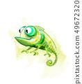 Chameleon funny cartoon character Vector. Cute 49672320