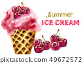 Summer ice cream cone with cherry watercolor 49672572