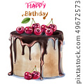 Happy birthday delicious cherry cake Vector 49672573