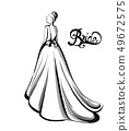 Bride silhouette Vector line art. Beautiful long 49672575