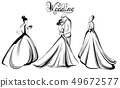 Wedding couple silhouette Vector line art. 49672577