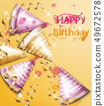 Happy birthday card with party hats Vector 49672578