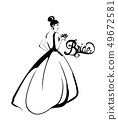 Bride silhouette Vector line art. Beautiful long 49672581