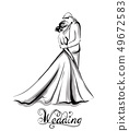Wedding couple silhouette Vector line art. 49672583