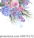 Watercolor vintage floral illustration with roses, 49674172