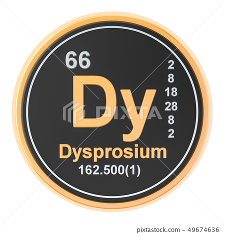 Dysprosium Dy chemical element. 3D rendering 49674636