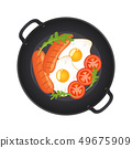 Hot frying pan with fried eggs, sausages, mushrooms, tomatoes and lettuce, top view. Isolated on 49675909