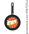 Hot frying pan with fried eggs, sausages, mushrooms, tomatoes and lettuce, top view. Isolated on 49675912