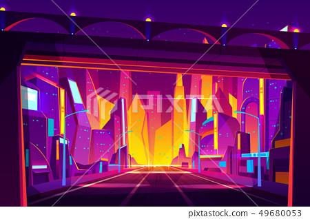Future city highway cartoon vector illustration 49680053