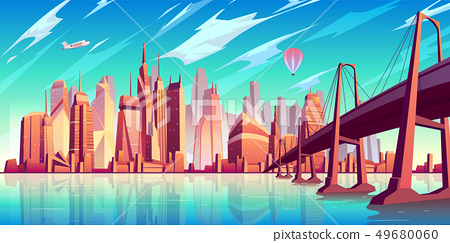 Metropolis skyline cartoon vector background 49680060