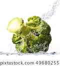 fresh cabbage falling in water 49680255