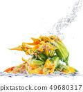 fresh pumpkin flowera falling in water 49680317