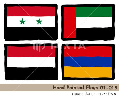 """손으로 그린 깃발 아이콘 """"시리아의 국기"""" """"아랍 에미리트의 국기"""" """"예멘의 국기」 「아르메니아의 국기"""" 49681970"""