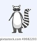 Cute doodle cartoon style racoon vector illustration 49682203