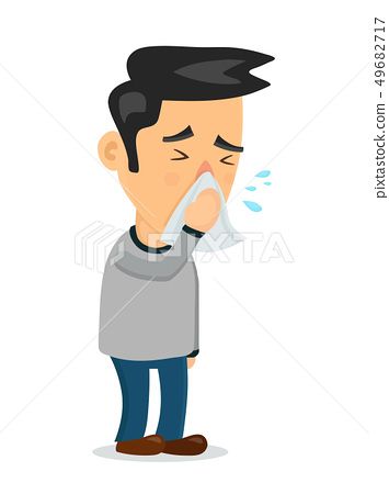 Sneezing person man character.Vector flat  49682717