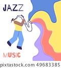Jazz Man Saxophone Music Sound Color Flat Poster 49683385