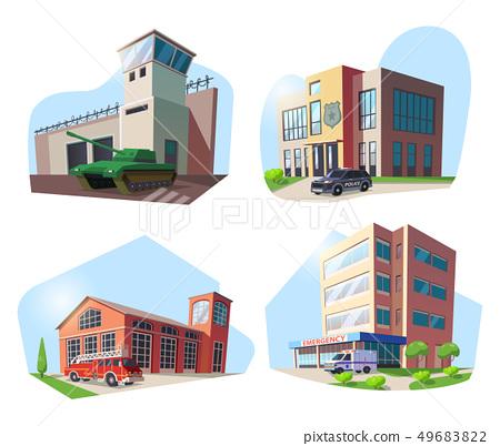Police, firehouse, hospital, military base 49683822