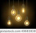 Lamp or bulb, light bulb hanging from ceiling 49683838