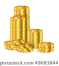 Realistic stack of golden money or stack of coins 49683844