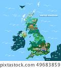 England, United Kingdom map with famous landmarks 49683859