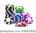 Stack or heap for 3d or realistic poker chips. 49683869